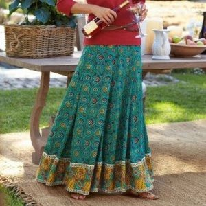 Soft Surroundings Myrina Pleated Maxi Skirt